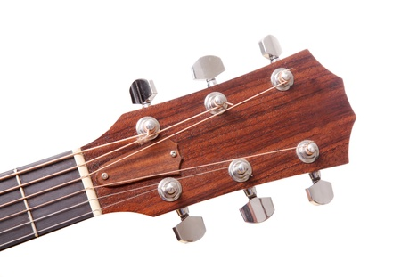 Headstock of the guitar  over white background  photo