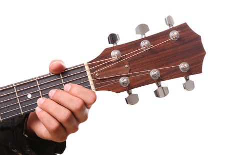 Guitarist with his hand on headstock over white background photo