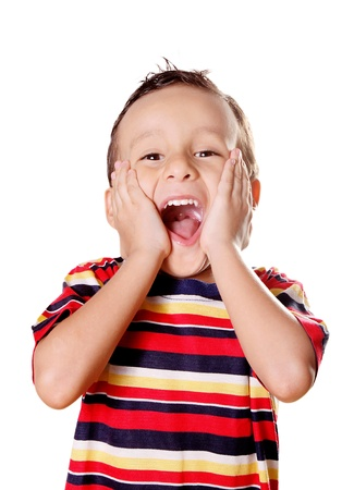 Child expressing surprise and happiness over white background Stock Photo - 8912638