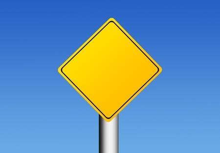 Cartello giallo su fondo cielo con lo spazio in bianco per inserire il testo o design. Illustrazione