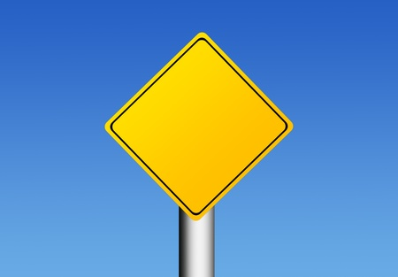 warning notice: Yellow road sign over sky background with space in blank for insert text or design. Illustration