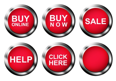 buy now: Several buttons with different business ads. Illustration Stock Photo