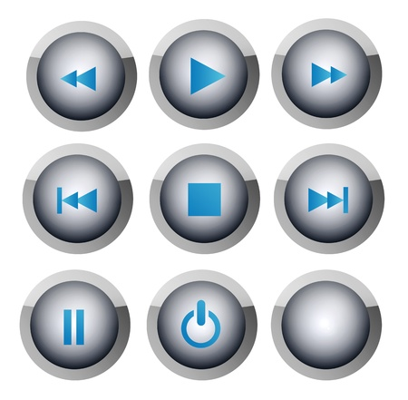 Several buttons with the symbols of music and video player Stock Photo - 8912874