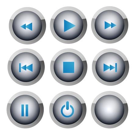 pausa: Varios botones con los s�mbolos de reproductor de m�sica y v�deo Foto de archivo