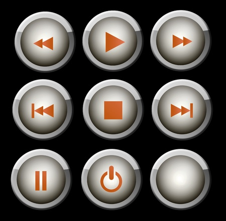 pause button: A set of  glossy gray and orange web icons for use on music and video player Stock Photo