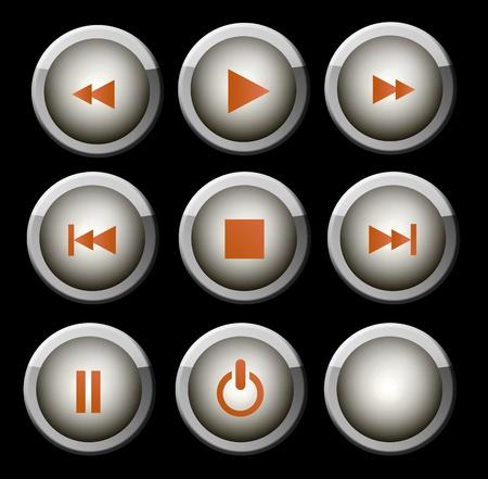 pausa: Un conjunto de iconos de web gris y naranja brillante para su uso en el reproductor de m�sica y v�deo