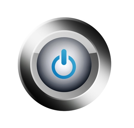 Chrome and blue star button over white background. Illustration Stock Illustration - 8912855