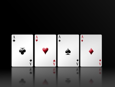 Poker card with shadow and black background. Illustration illustration