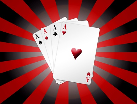 card player: Red and black poker cards over red and black lines background. Illustration