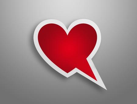 dessin coeur: Coeur rouge avec cadre blanc sur parole forme de bo�te sur fond gris Banque d'images