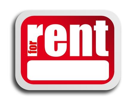 rent: Red poster for rent over white background. Illustration