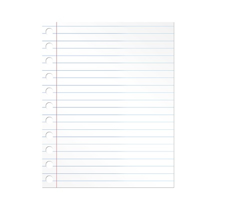 Notebook paper illustration over white background. Illustration illustration