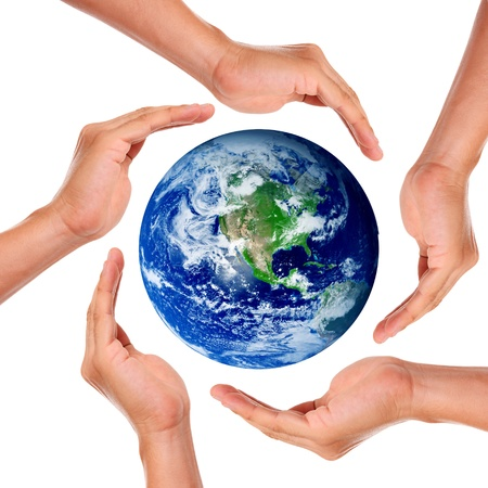 environmental safety: Hands around the world in signal of protection