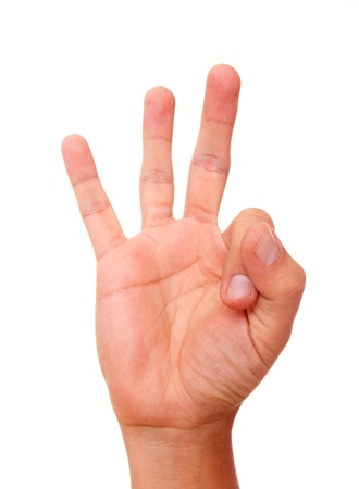 Hand raising three fingers as an indication of number photo