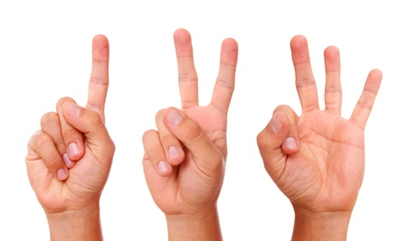 Hands gesture counting from one to three over white background photo
