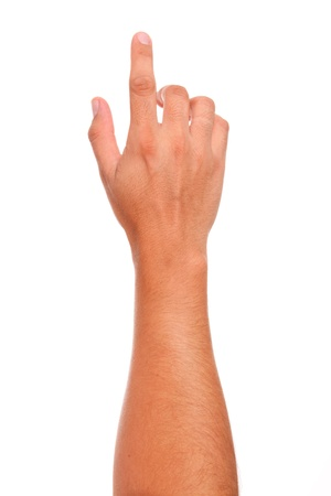 finger in position of pressing a button  over white background Stock Photo - 9035959