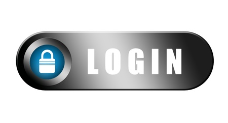 login button: Chrome and blue login button over white background