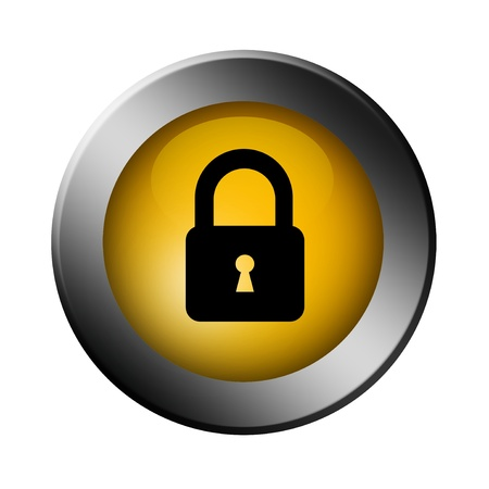 Button lock with the security logo over white background photo