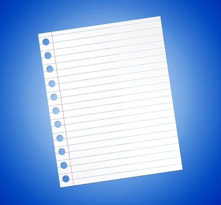 Notebook paper illustration over blue background. Illustration Stock Illustration - 9314755