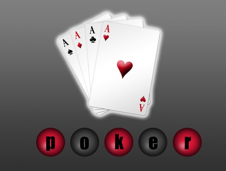 Poker game in shaped deck over gray background Stock Photo - 9314646