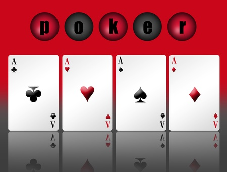 Poker card with shadow and red background Stock Photo - 9314639