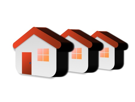 Three red house symbol over white background.Family concept Stock Photo - 9314564
