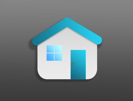 Blue house symbol over gray background.Family concept photo