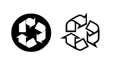 Dos reciclaje símbolo en blanco y negro.Concepto de eco. Ilustración Foto de archivo - 9314503