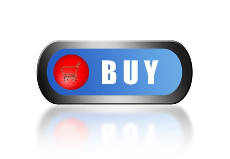 Blue and red buy button with chrome trim over white background Stock Photo - 9314525