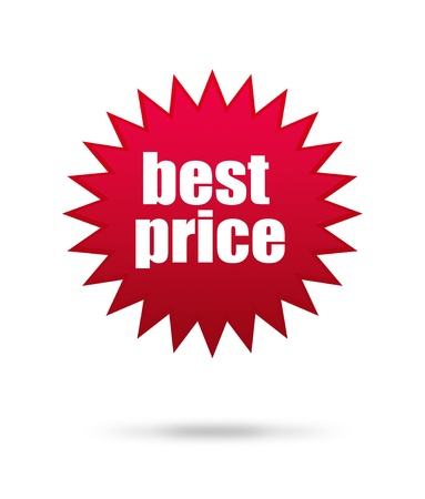 price reduction: Best price mark over white background, star illustration