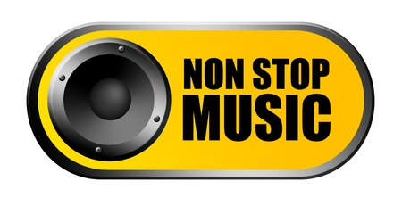 non: Yellow non stop music background with speaker Stock Photo