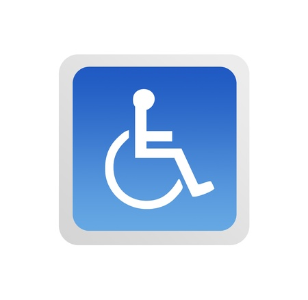 wheelchair access: Blue Disabled sign on white background, Illustration Stock Photo