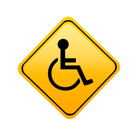 wheelchair access: Yellow disabled sign on white background, Illustration