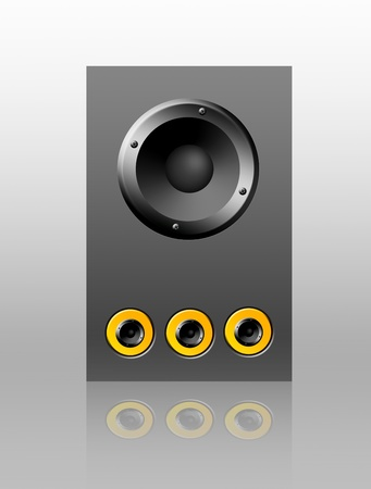 Gray and yellow speaker on empty background with reflection, object illustration Stock Illustration - 9314654