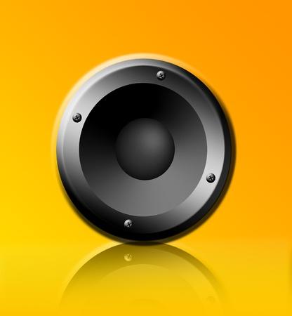 Chrome speaker on yellow background, Object illustration Stock Illustration - 9314491