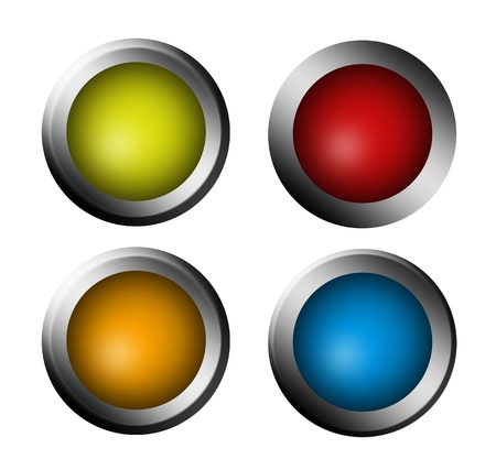 Red, green, blue and orange buttons on white background Stock Photo - 9314590