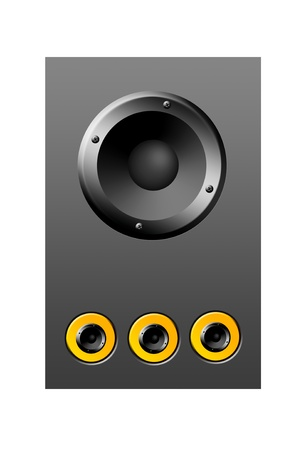 Gray and yellow speaker over gray background, object illustration illustration