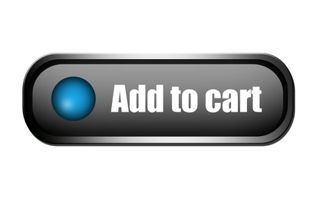 Blue and chrome add to cart button over white background