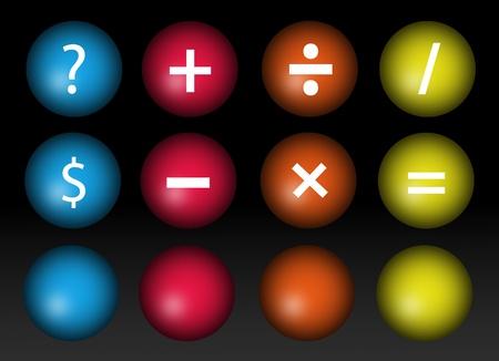 signos matematicos: Signos matem�ticos en cuesti�n y pesos sobre fondo negro Foto de archivo