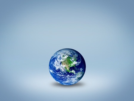 Planet earth over blue and grey  background. Natural Illustration Stock Illustration - 9314673