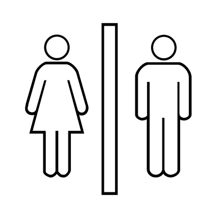 Restroom signs for men and woman over white background photo