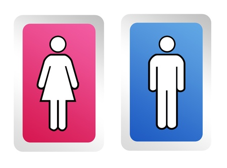 Signs for men and women in blue and pink squares . Background photo