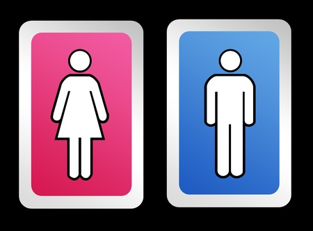 blue signage: Restroom signs for men and woman over black background Stock Photo