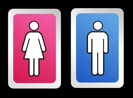 Signos de ba�o para hombres y mujeres sobre fondo negro Foto de archivo - 9314640