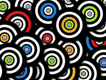 Blue,orange,green, black and white circles. Background Stock Photo - 9314657