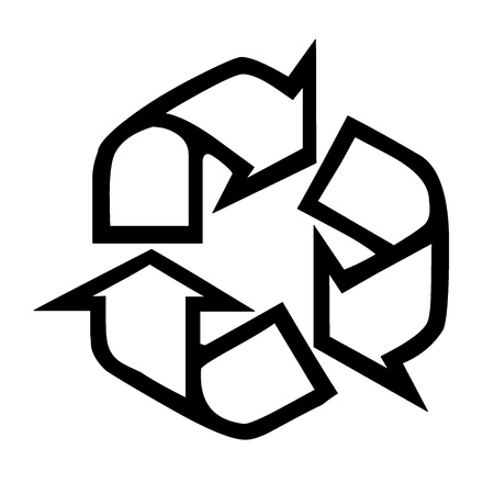 recycling symbol in black and white.Ecological concept. Illustration Stock Illustration - 9314498