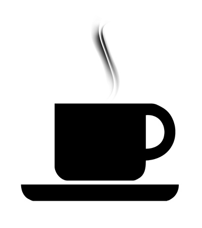 Symbol of a cup of cafe with aroma over white background photo