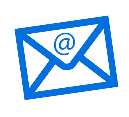 Blue symbol  mail with sign of @ over white background Stock Photo - 9314504