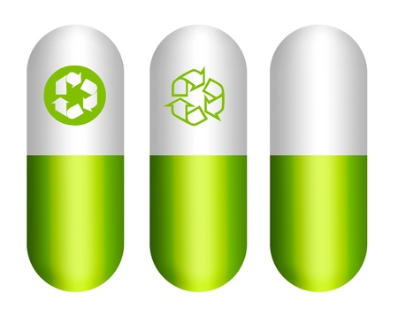 Green and white ecological pills with sign recycling Stock Photo - 9314648