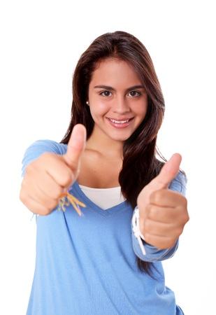 positivism: Mujer con el signo de positivismo en sus manos Foto de archivo